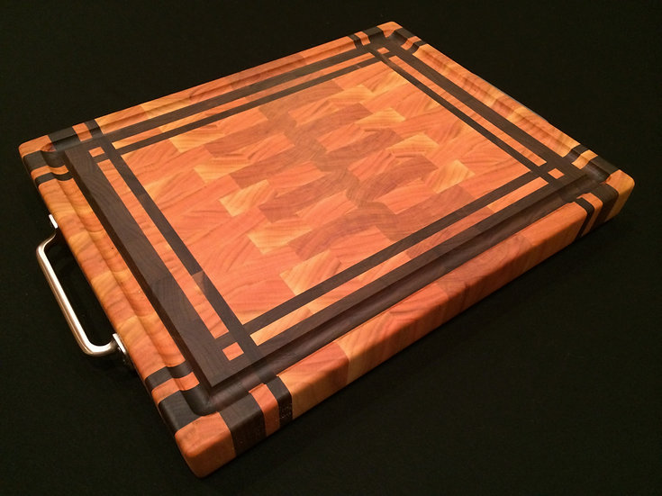 Cherry with Criss Cross Black Walnut Frame End Grain Cutting Board