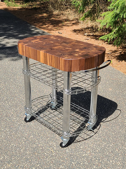 End Grain Black Stainless Base Kitchen Cart