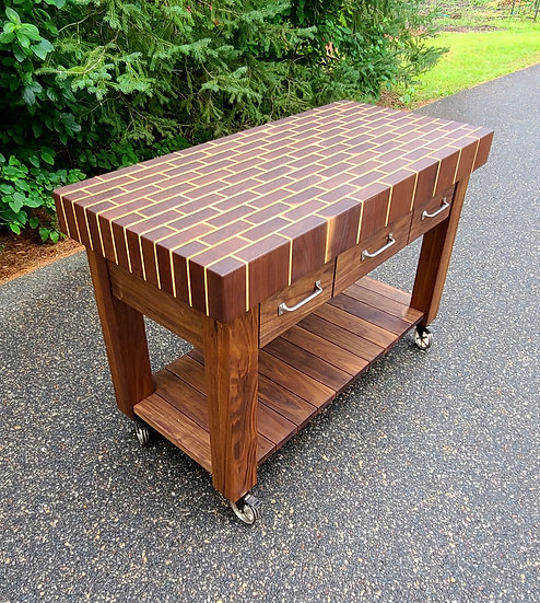 Large Brick Butcher Block Cart