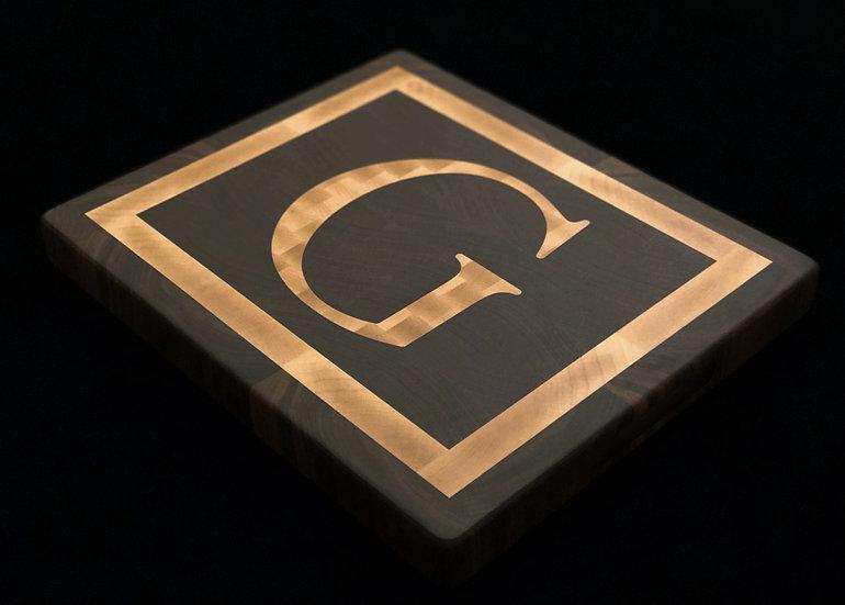 Black Walnut & Personalized End Grain Maple Letter