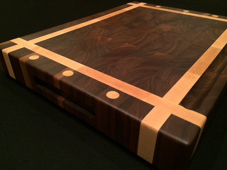 Black Walnut End Grain with Maple Dots and Frame