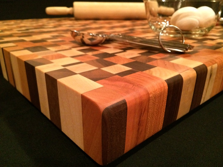 Mosaic Mixed Woods End Grain Cutting Board