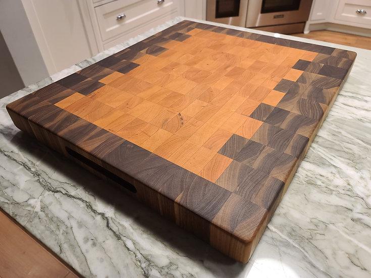 End Grain Black Walnut & Cherry Cutting Board Ready to ship!