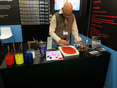 Presentation of cuní water soluble encaustic paints at Creative world 2013. Frankfurt