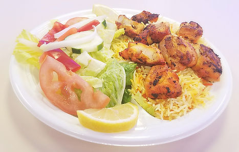 Halal Chicken Kebab and Saffron Basmati prepared and sold at Crown Fried Chicken. A halal restaurant in Portland Maine