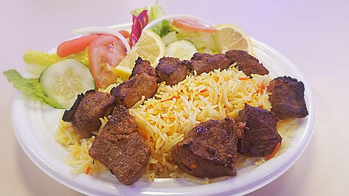 Halal Steak Tikka and Saffron Basmati prepared and sold at Crown Fried Chicken. A halal restaurant in Portland Maine
