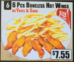 Crown Fried Chicken - 6 Piece Boneless Hot Wings with Rice and Soda.jpg