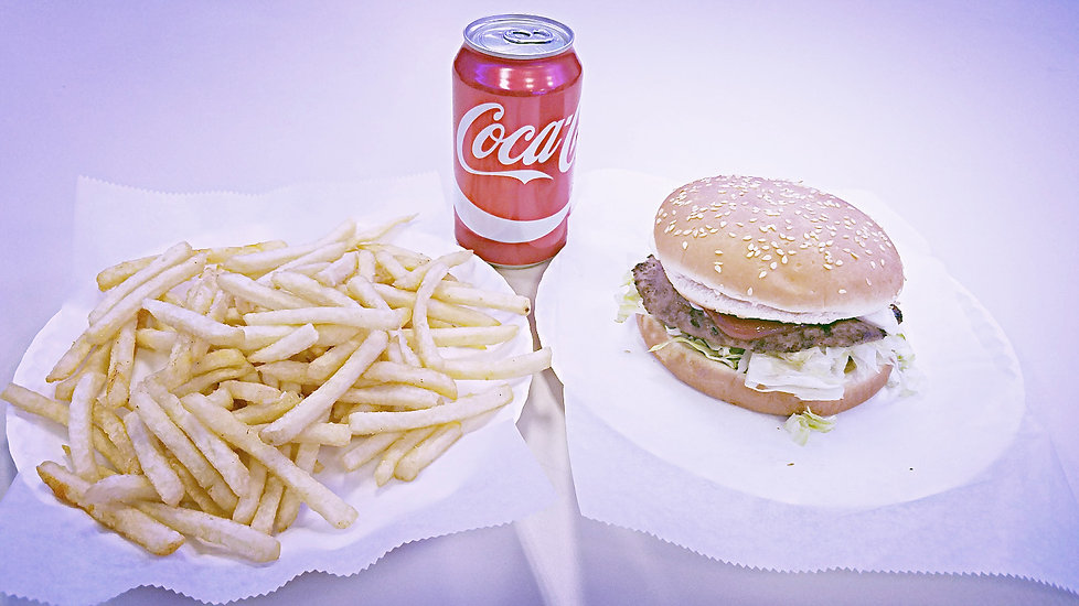 Popular order of Crown Fried Chicken. Regular Coke, Cheeseburger and French Fries
