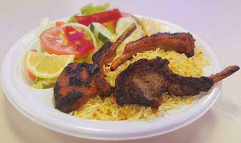 Halal Lamb Chops and Saffron Basmati prepared and sold at Crown Fried Chicken. A halal restaurant in Portland Maine
