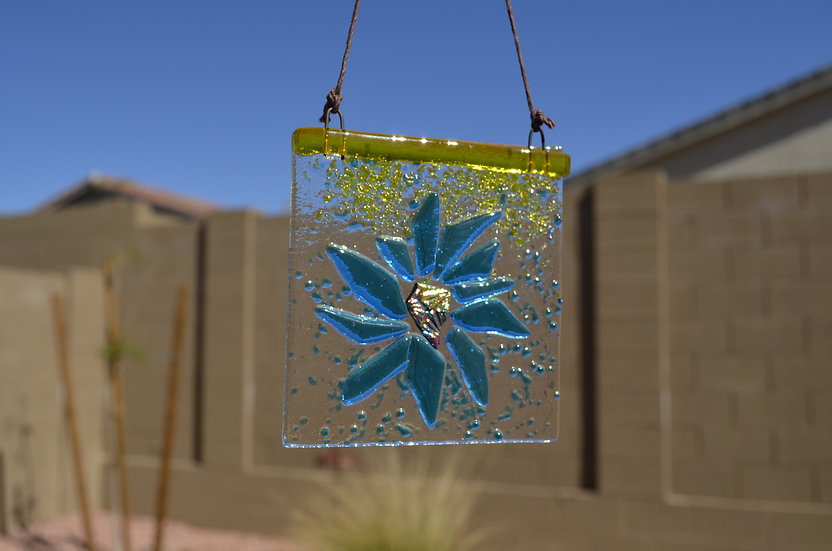 Sun Catcher: 3x3 Blue Flower