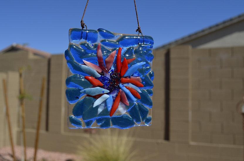 Sun Catcher: 3x3 Blue & Red Flower