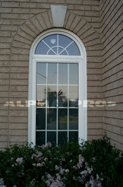Shaped window with the grills