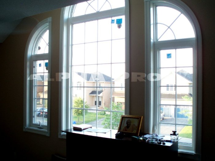 Shaped windows with grilles