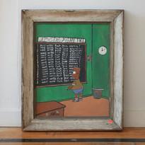 Maksudur Rahman I Wont Write Fuck Jess Anymore, 2019 Acrylic on found painting 18 x 14 IN