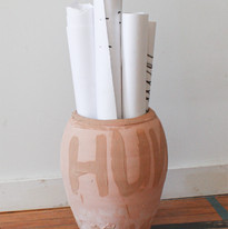 Ben Peterson Blonde Hunk, 2019 Pottery with Albany slip decoration, paper scrolls, india ink