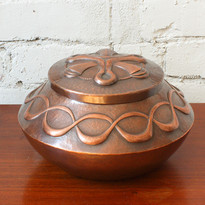 Carson Sio Lidded Copper Container, 2020 Hand raised with  a chased design  4 x 6.75 IN
