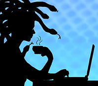 Sillhouette of a gorgon/medusa sipping tea and typing at a laptop