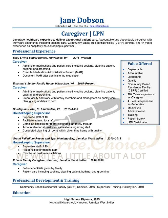 Resume Caregiver-LPN