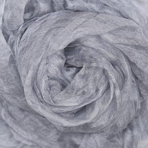 Hand dyed Margilan silk - 1 yard, Silver Gray