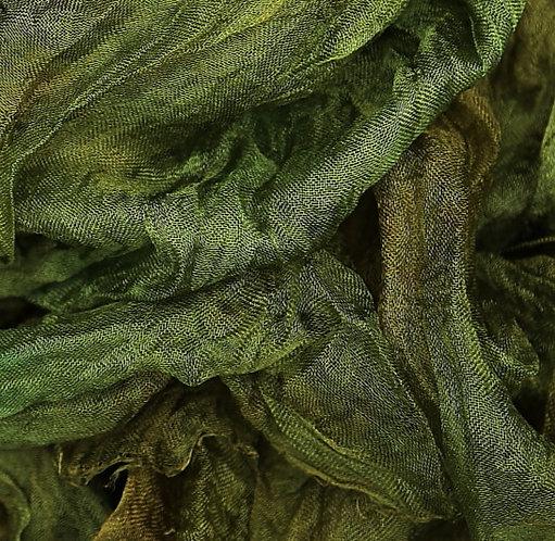 Hand dyed Margilan silk - 1 yard, Dark Olive