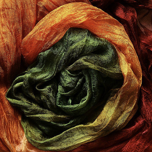 Hand dyed Margilan silk - 3 yards, Lush Garden