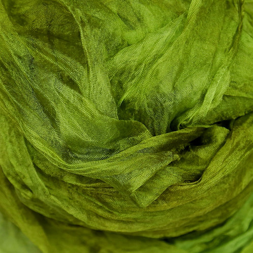 Hand dyed Margilan silk - 1 yard, Summer Green