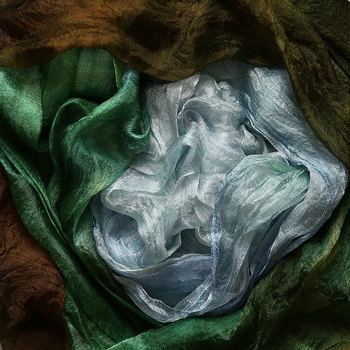 Hand dyed Margilan silk - 3 yards, Sage & Fog