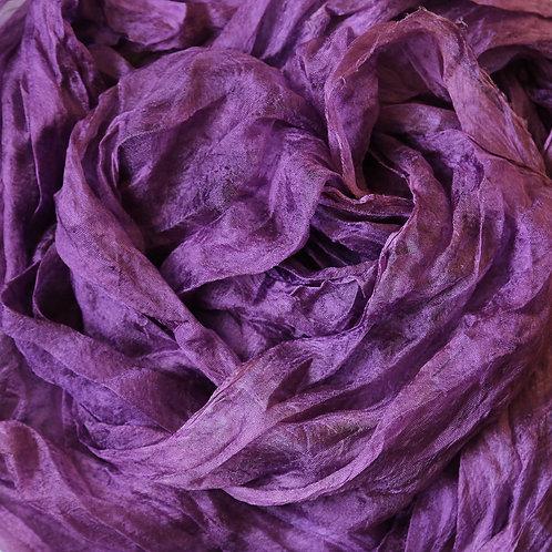 Hand dyed Margilan silk - 1 yard, Plum