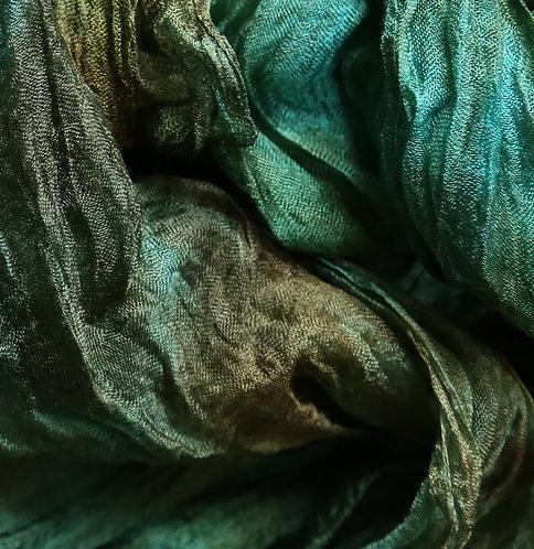Hand dyed Margilan silk - 1 yard, Herbs