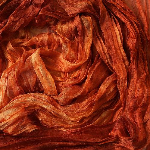 Hand dyed Margilan silk - 1 yard, Fire Orange