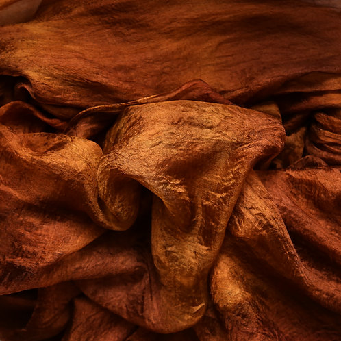 Hand dyed Margilan silk - 1 yard,  Golden and Chocolate Browns
