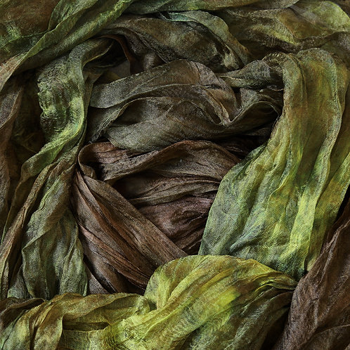 Hand dyed Margilan silk - 1 yard, Forest