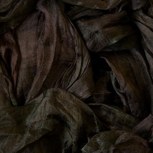 Hand dyed Margilan silk - 1 yard, Black Coffe