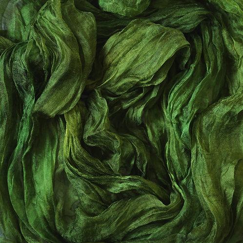 Hand dyed Margilan silk - 1 yard, Leafy