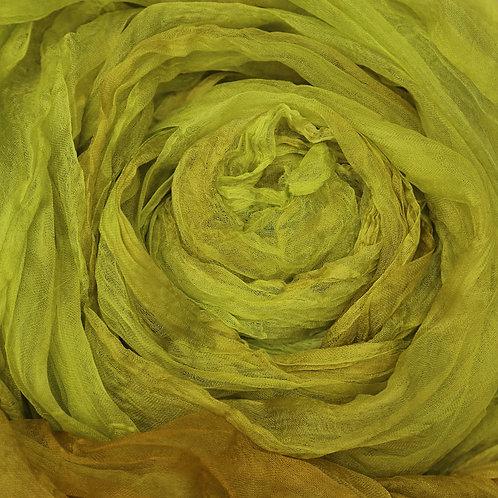 Hand dyed Margilan silk - 1 yard, Pear
