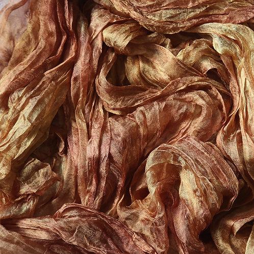 Hand dyed Margilan silk - 1 yard, Bronze