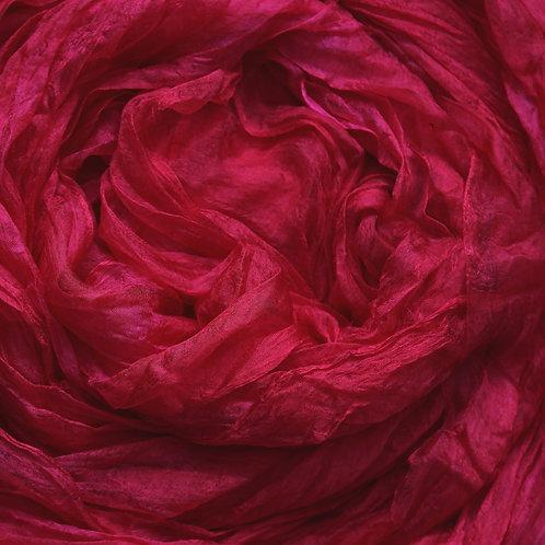 Hand dyed Margilan silk - 1 yard, Raspberry