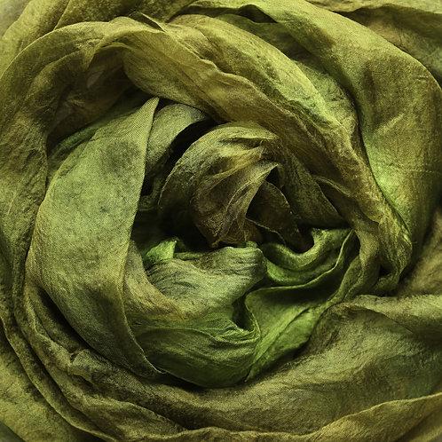 Hand dyed Margilan silk - 1 yard, Olive