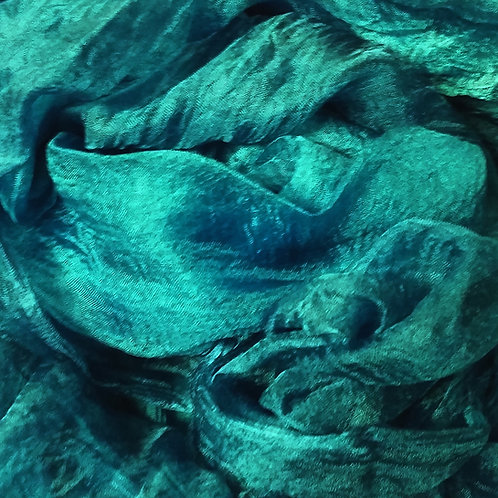 Hand dyed Margilan silk - 1 yard, Teal