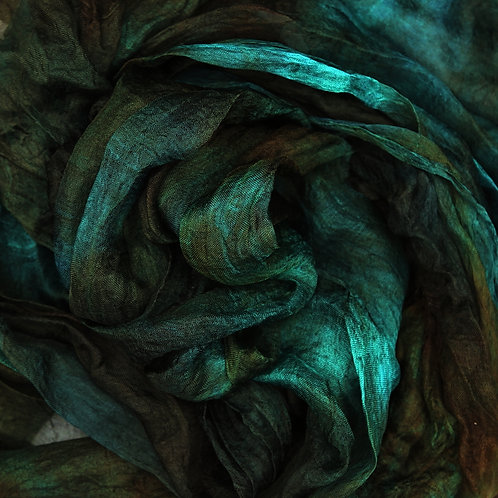 Hand dyed Margilan silk - 1 yard, Beetle