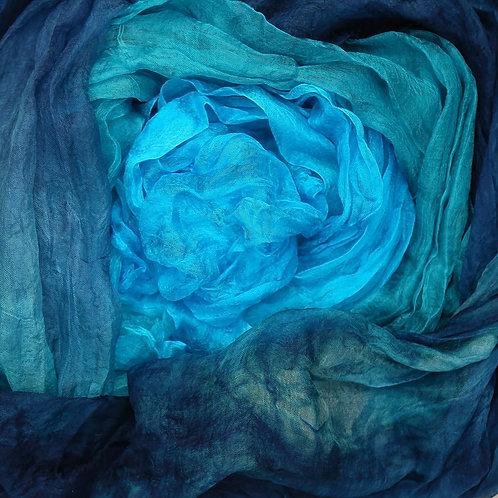 Hand dyed Margilan silk - 3 yards, Agate Geode