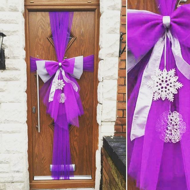 Loving the purple & silver double door bow! ❄❄❄ #doorbowsliverpool #doorbow #doorbows #silverdoorbow