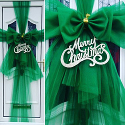Forest green double bow with glitter gold greeting 🎄£25 including installation 🎀_#doorbowsliverpoo