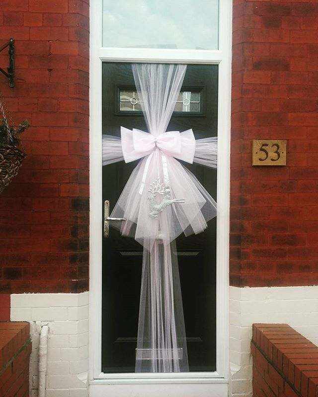 Custom baby pink double bow with silver accessories 💕_#doorbowsliverpool #doorbow #doorbows #pinkdo