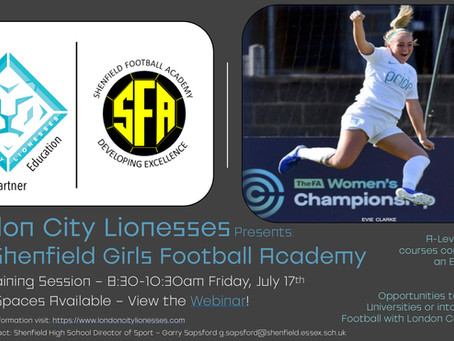 LCL Shenfield Girls Football Academy to hold open Training session