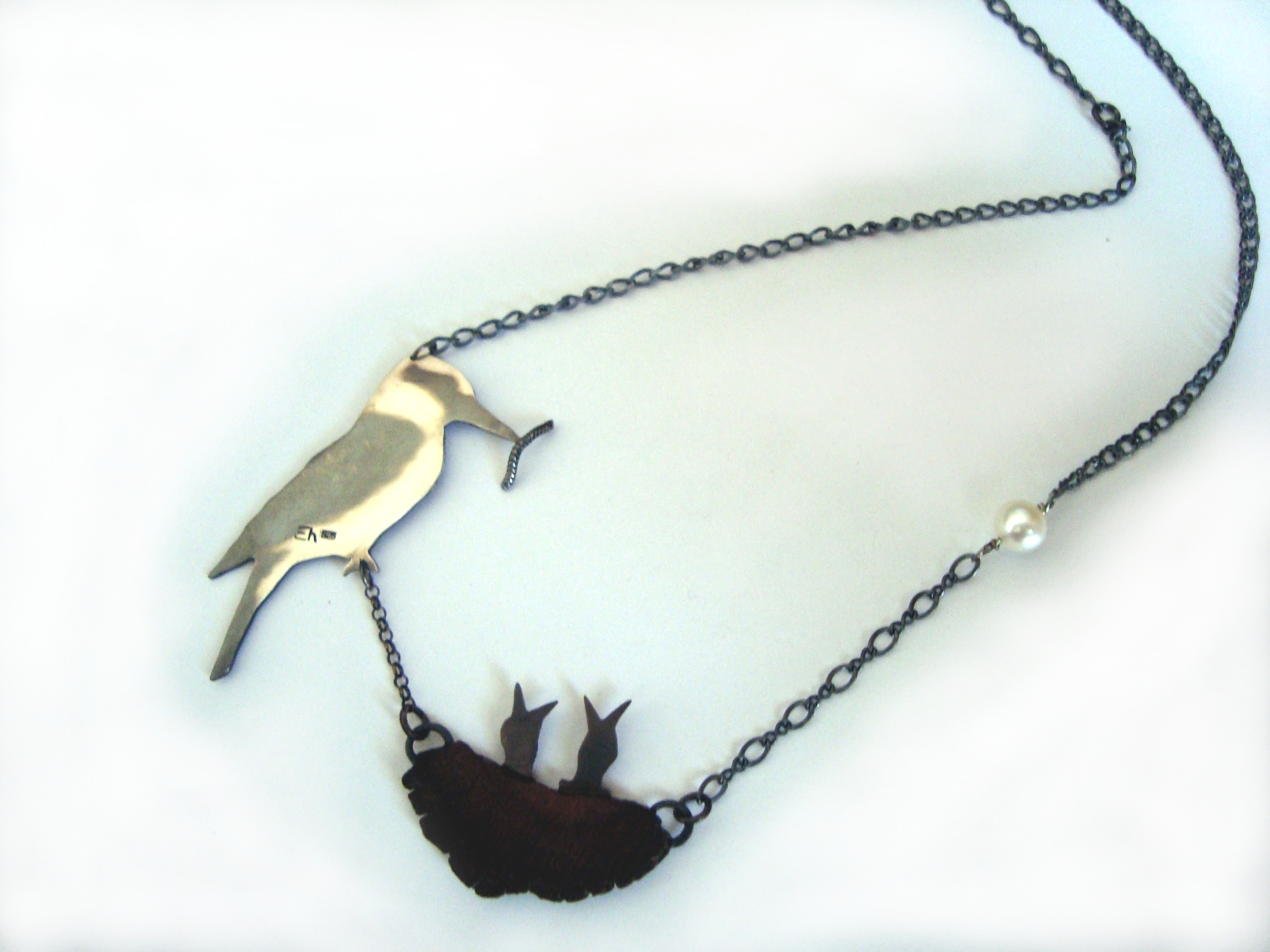 Kookaburra and babies Necklace - Oxidised Silver, Wood and Pearl