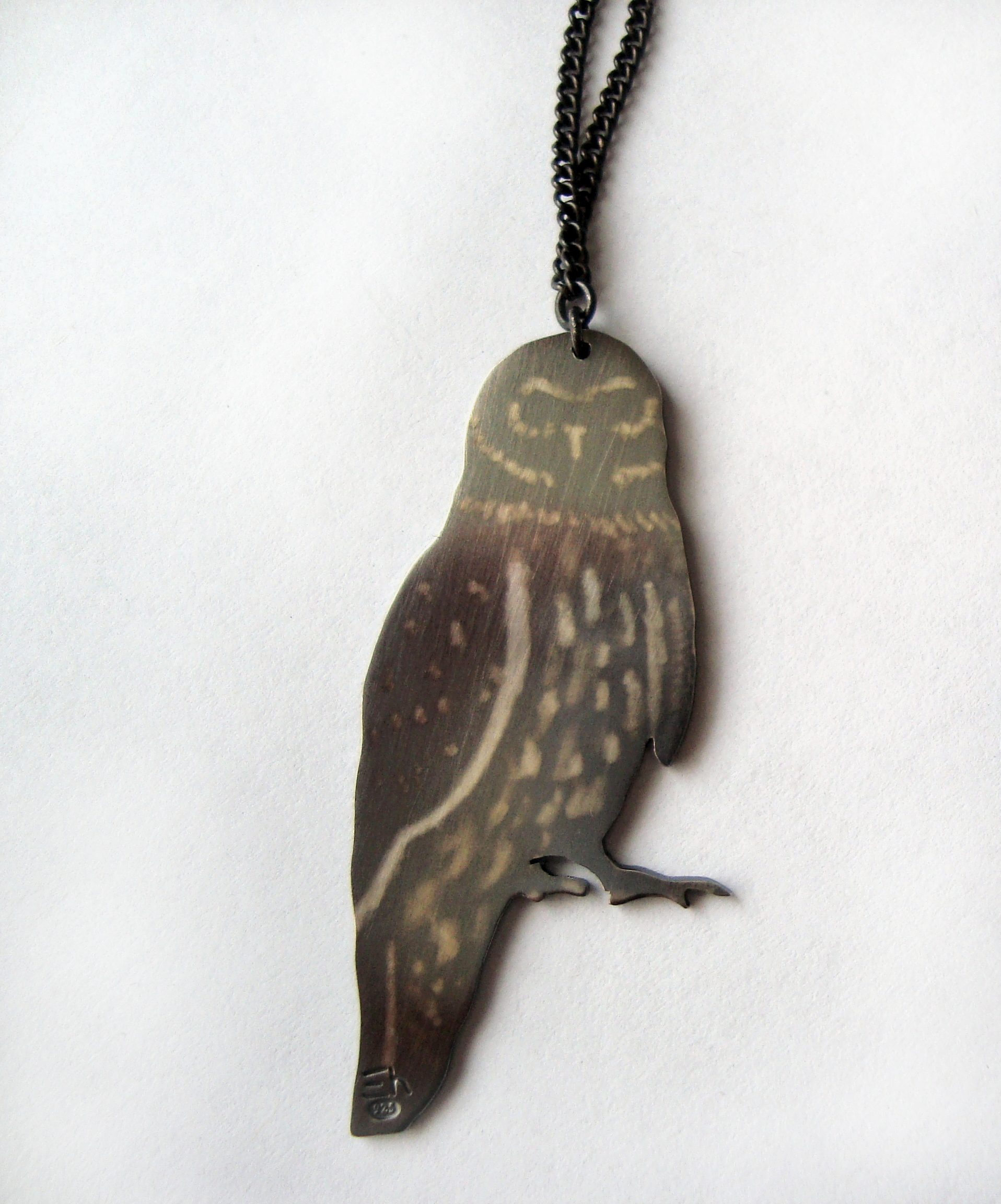 Owl Necklace - Oxidised Silver