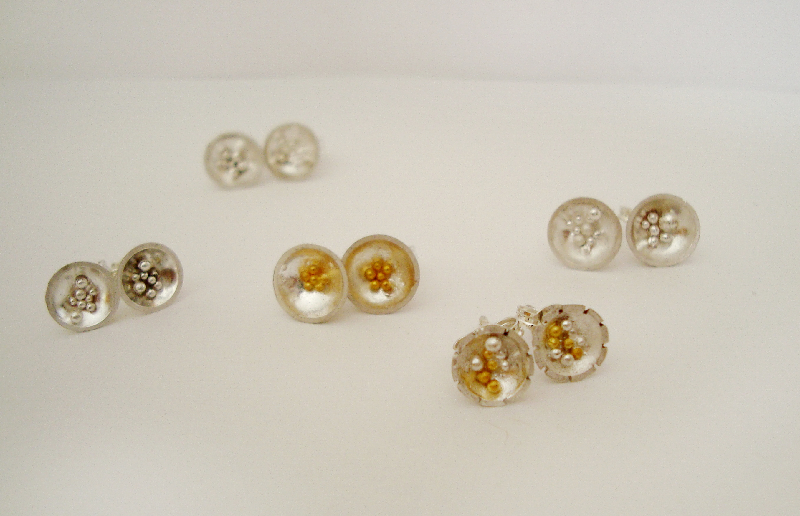 Gold and Silver Granule Earrings