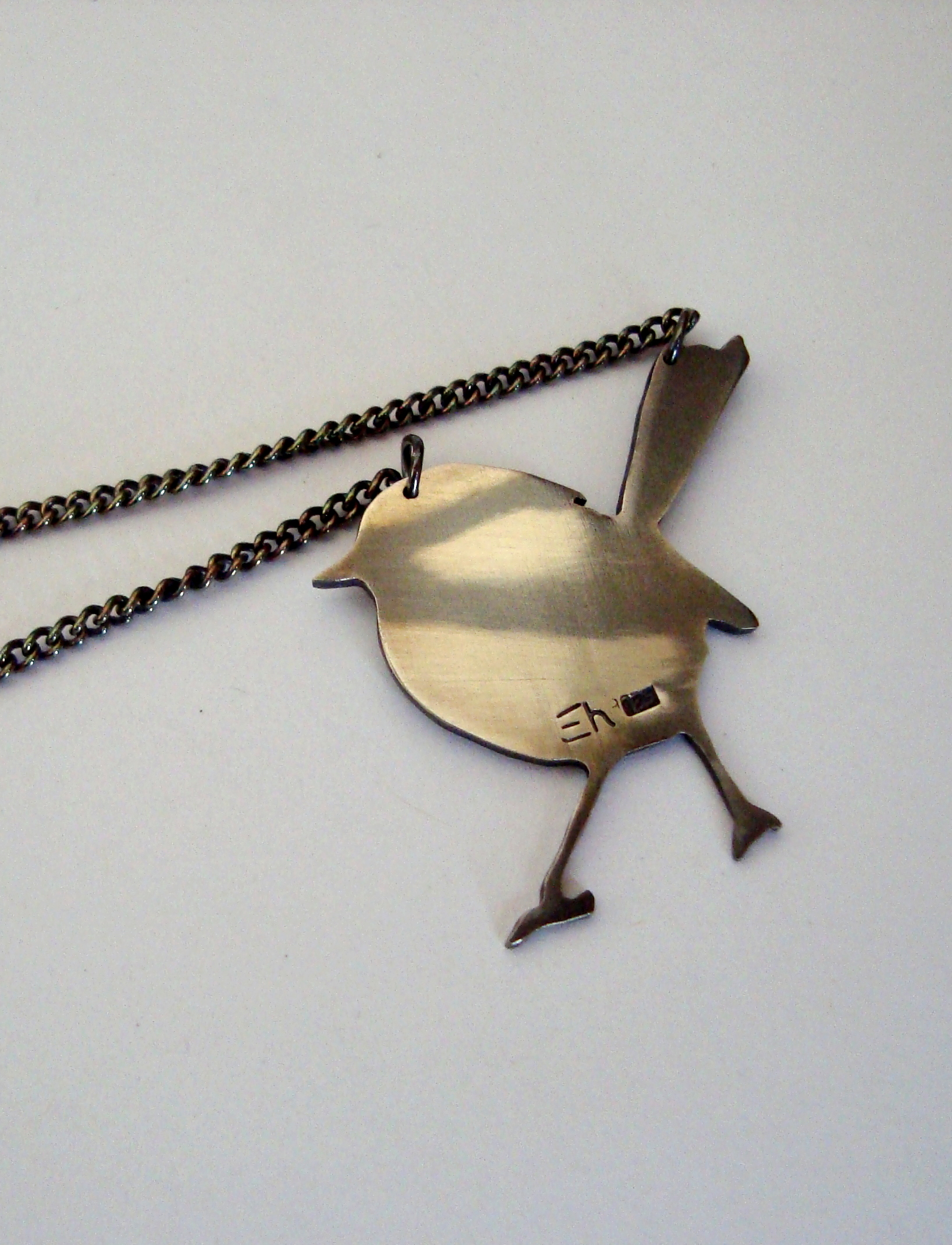 Superb Blue Wren Necklace - Oxidised Silver