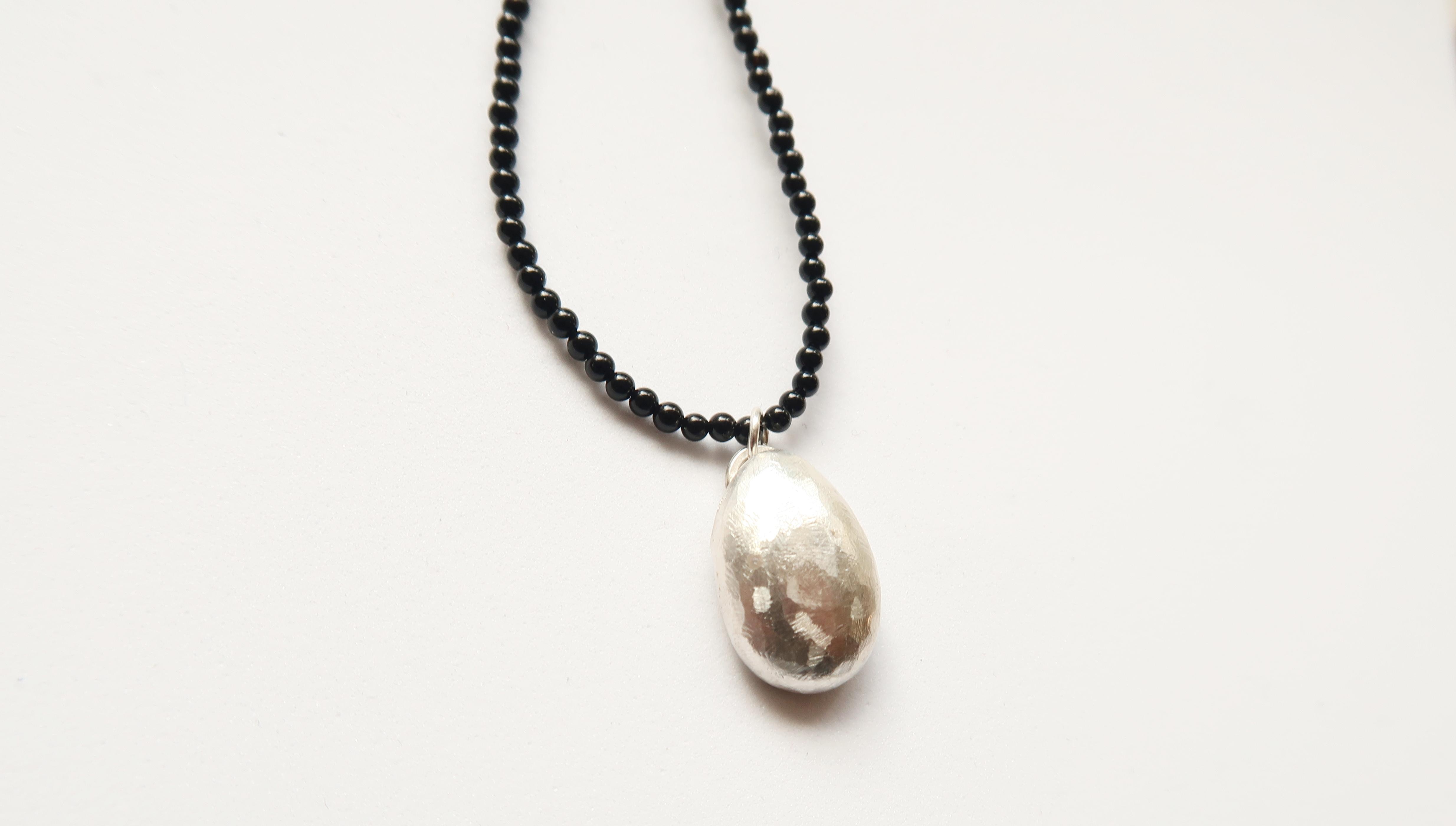 Black Onyx & Silver Egg Pendant